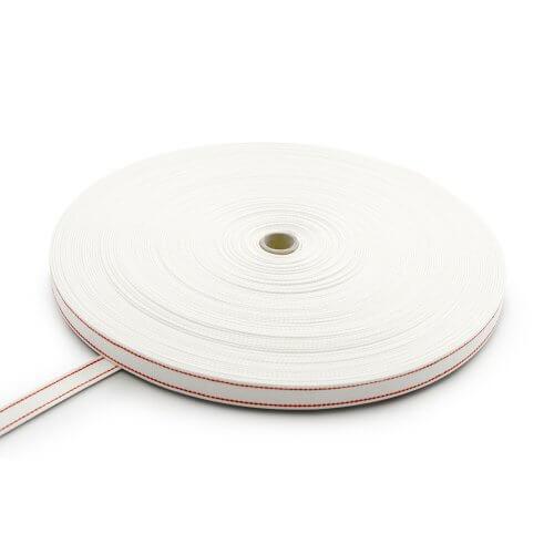 Rollladengurt Weiß mit 2 roten Streifen - Baumwolle (Breite 22 mm)