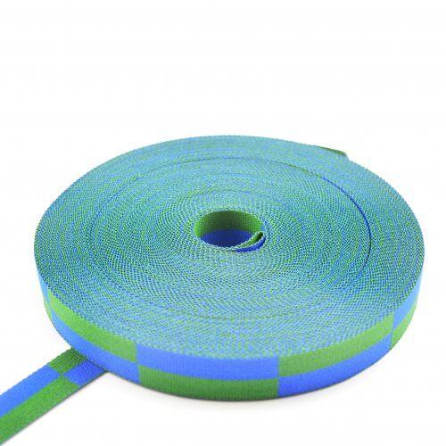 Karaté-band dubbel geblokt blauw-groen MB