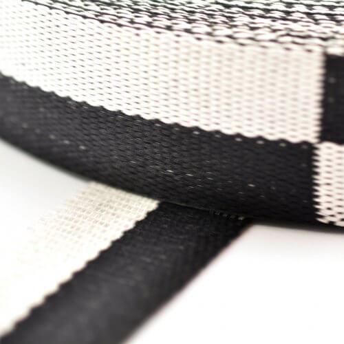 Karaté-band dubbel geblokt wit-zwart detail MB