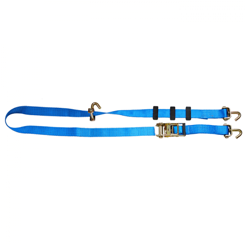 5T - 2,5m - 50mm - Wirbelhaken und Antirutsch-Distanzhalter - Autotransport-Spanngurt- Blau
