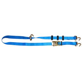 5T - 2,5m - 50mm - Wirbelhaken und Antirutsch-Distanzhalter - Autotransport-Spanngurt- Blau>