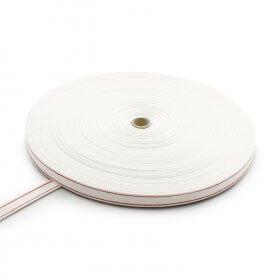 Rollladengurt Weiß mit 2 roten Streifen - Baumwolle (Breite 22 mm)>